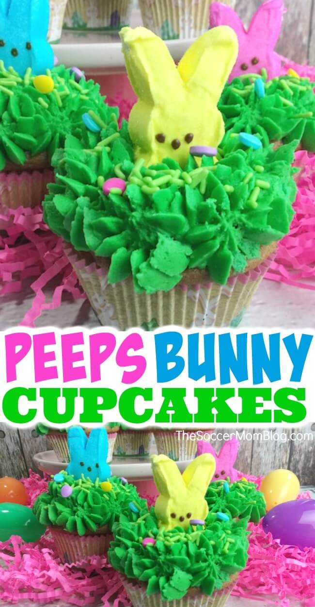 """Cute & colorful Peeps Bunny Cupcakes are the perfect Easter party dessert! Kids will go wild for these bright bunnies """"peeping"""" out of the frosting!"""