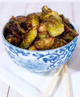 Crispy Roasted Brussels Sprouts with Sweet Soy Glaze
