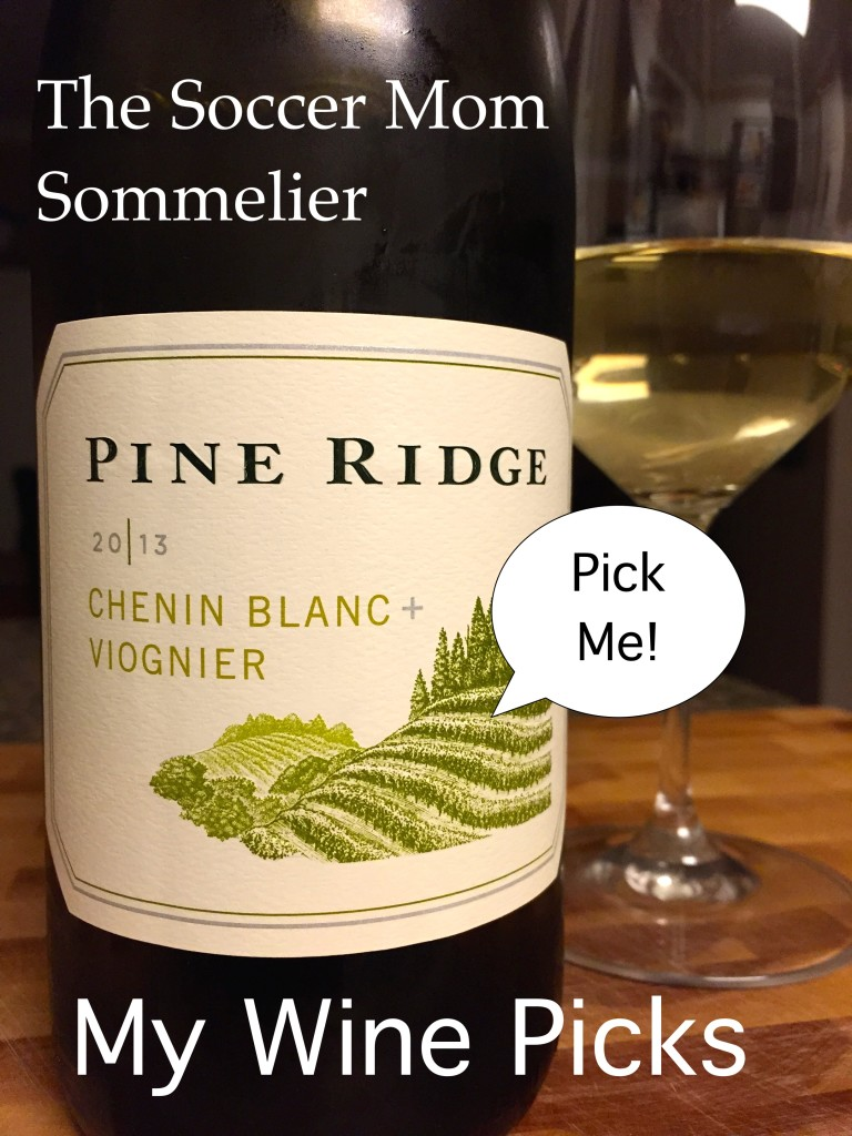 "One of my favorite new wine finds, 2013 Pine Ridge Chenin Blanc + Viognier is a smooth, drinkable white with a hint of ""sparkle."""