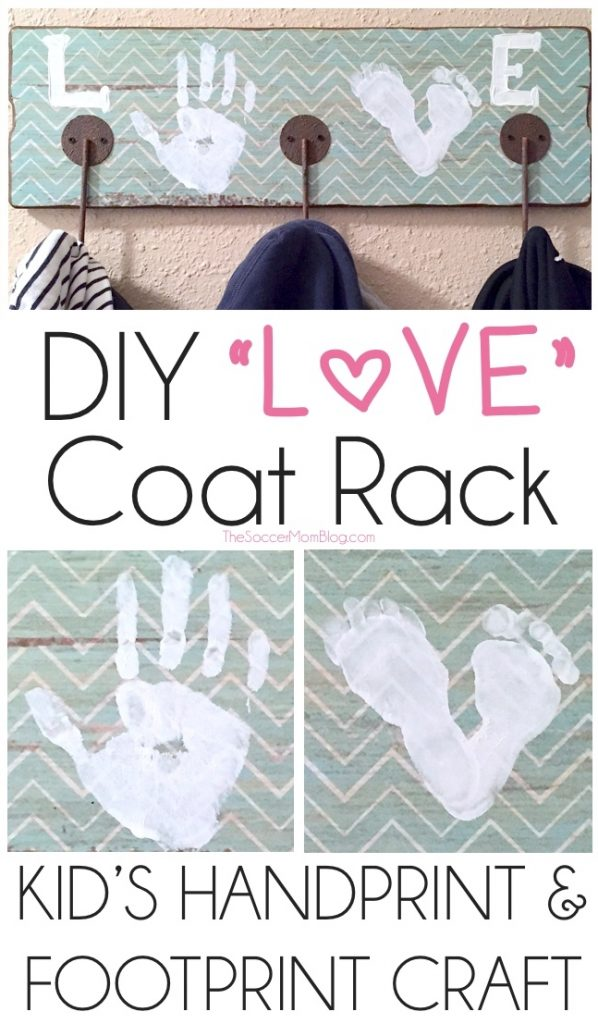 This DIY LOVE coat rack is a fun & simple craft project that is great for kids and makes the perfect personalized gift for family and friends!