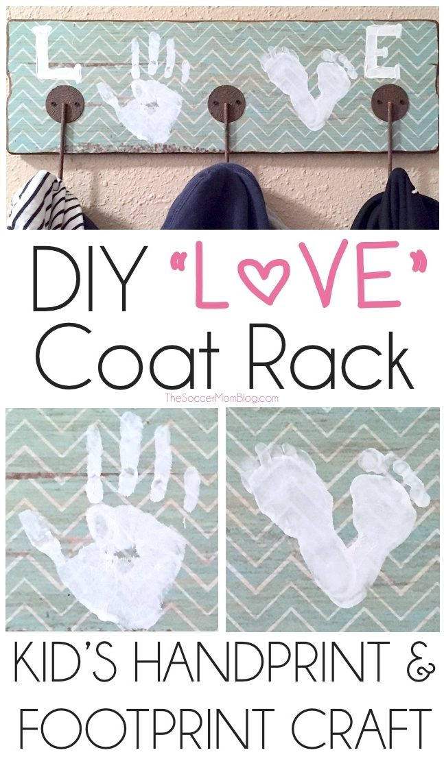 "This ""LOVE"" Kids Footprint and Handprint Coat Rack is an adorable keepsake gift or personalized touch to your home decor! (Plus it's functional!)"