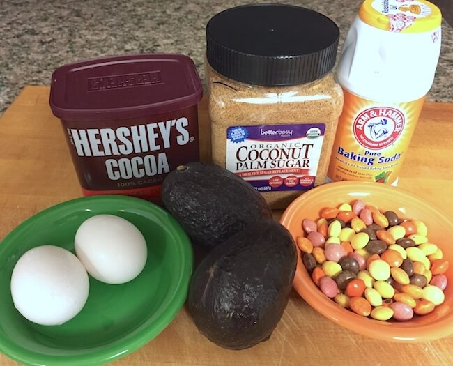 Marbled brownies ingredients on counter