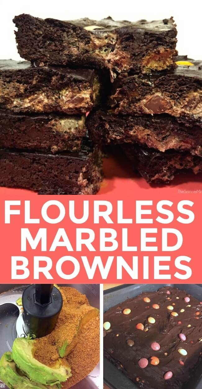 These Flourless Chocolate Avocado Brownies have a fun marbled effect and they won't break your diet either! Gluten free & kid approved!