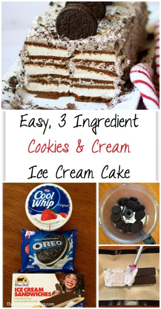 Hands-down, the EASIEST homemade ice cream cake EVER! Only 3 ingredients & no baking required - always a crowd pleaser! Click for video recipe!
