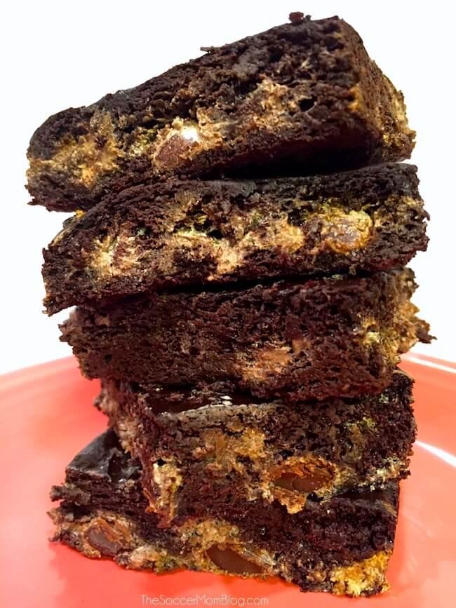 stack of marbled chocolate brownies
