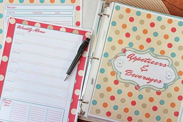 Meal planning organization binder