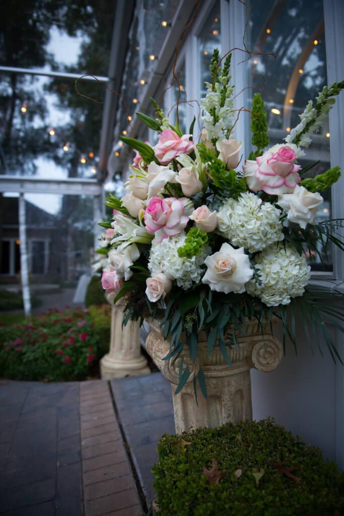 vintage antique wedding altar rose columns