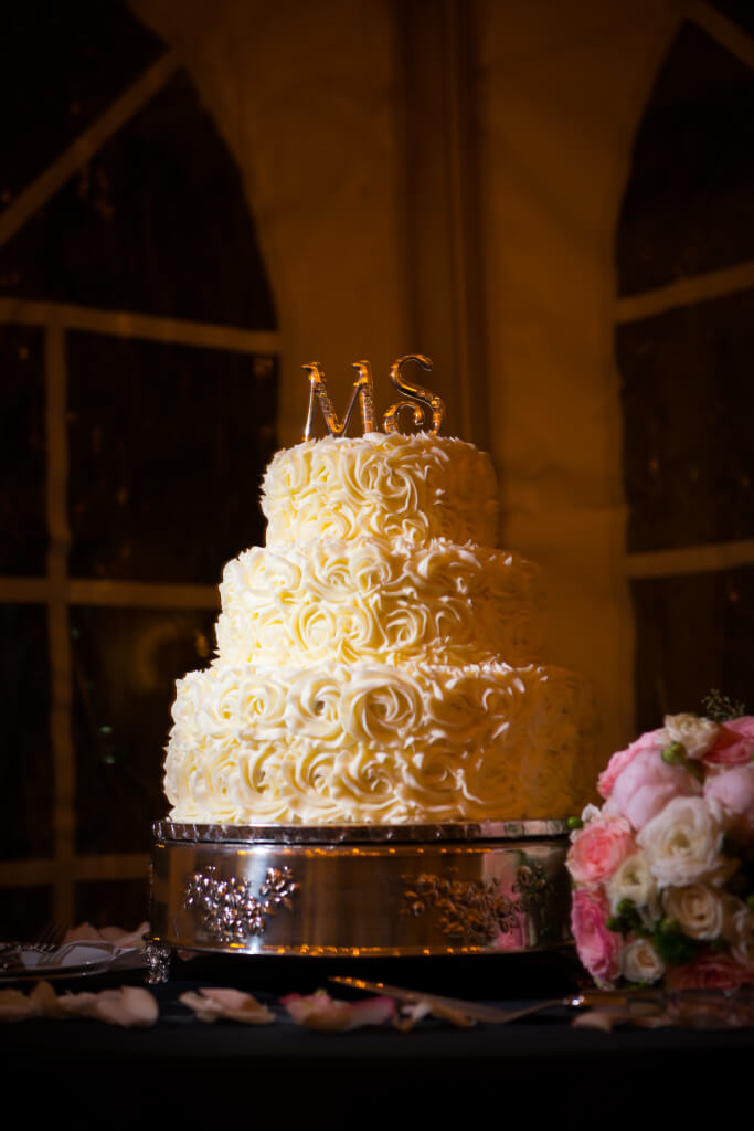 Vintage antique wedding cake with rose detail