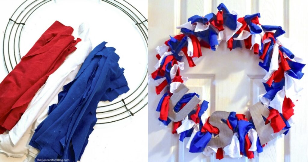 How to make an easy DIY Upcycled T-Shirt 4th of July Wreathin minutes! An easy and festive holiday craft idea that kids can make too!