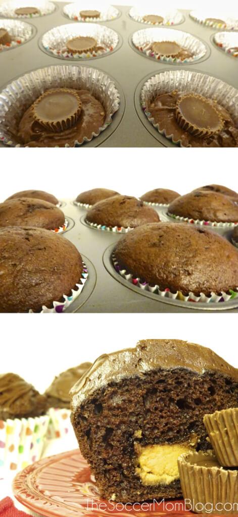 Chocolate Peanut Butter Surprise Cupcakes