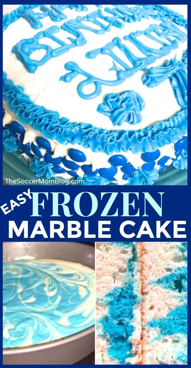 This pretty marbled cake is the perfect Frozen birthday cake! Inspired by Queen Elsa, this blue and white marble cake is super easy to make!