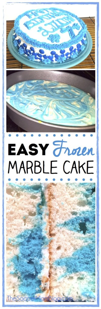 This Frozen inspired marble cake is perfect for a special girl's birthday! Plus it's easy enough for the kids to help make too!