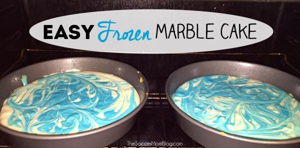 Easy Marbled Frozen Birthday Cake