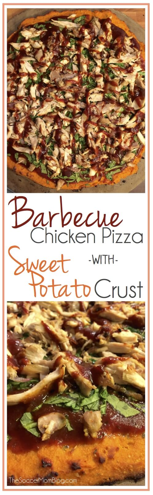 Healthy BBQ Chicken Pizza with Sweet Potato Crust - gluten free, dairy free, and tastes AMAZING!!