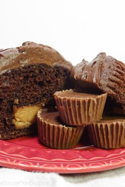 chocolate cupcake filled with a peanut butter cup