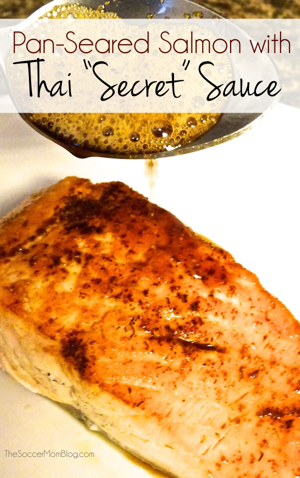 "Why does Thai food taste so amazing? This ""secret"" sauce might just be the answer! A incredibly simple and flavorful recipe for Pan-Seared Thai Salmon, plus 5 other Thai favorites!"