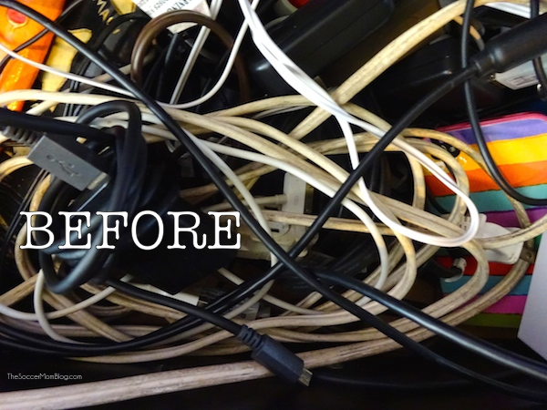 Never lose another phone (or electronics) charger again with this simple organization trick!
