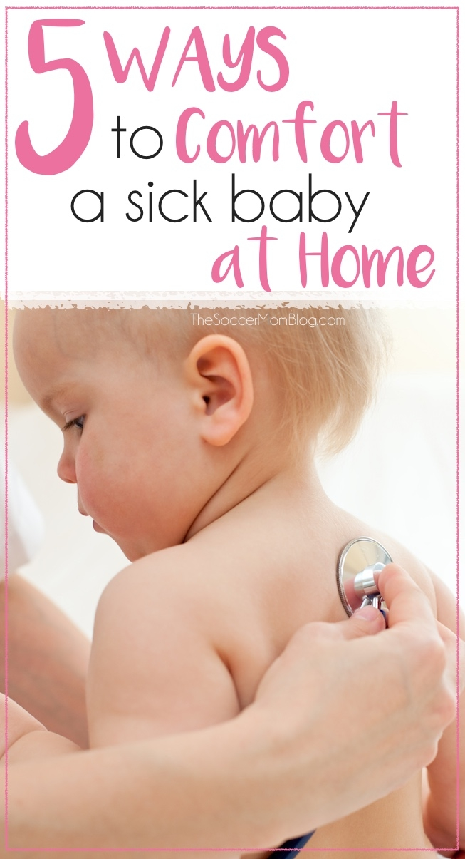 "Sometimes when your baby has a ""bug"" there's not much you can do except try to keep them comfortable. 5 tips for making a sick baby happier and keeping them entertained at home."