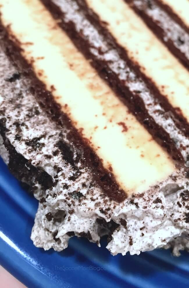 slice of dairy free ice cream cake on blue plate