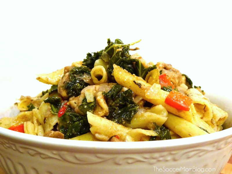 Honey Balsamic Chicken & Kale Warm Pasta Salad