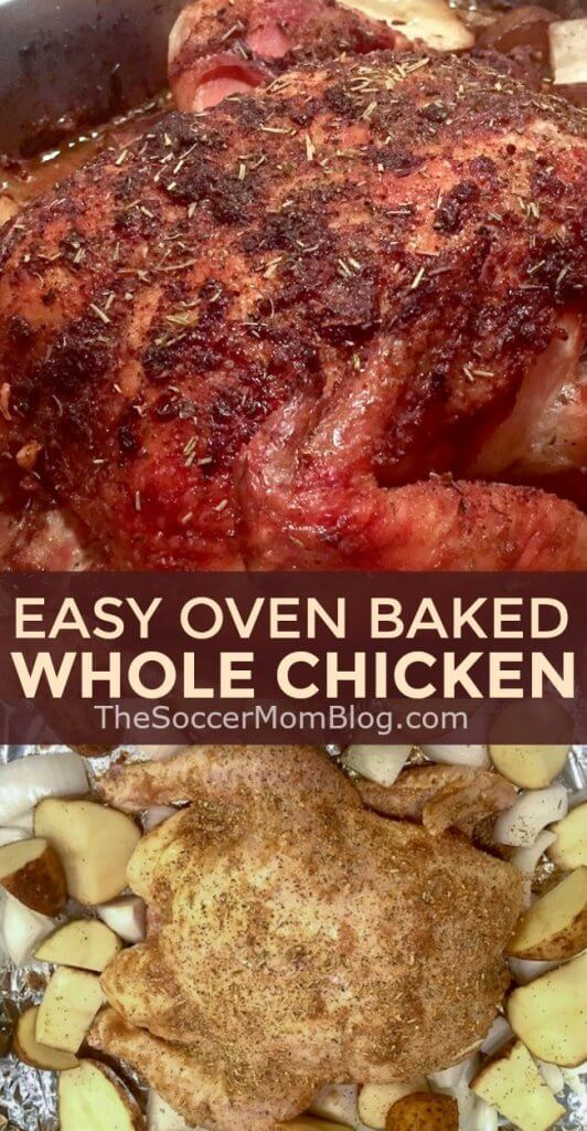 Oven baked chicken tastes just like juicy rotisserie chicken and is easy to make at home (and cheaper too!)