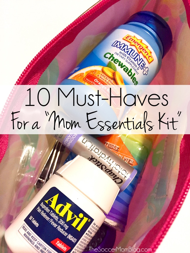 """Switch purses and never worry about forgetting something! Create your own DIY """"Mom Essentials Kit"""" -- make sure you've got these 10 must-have items! #BeHealthyForEveryPartofLife (ad)"""