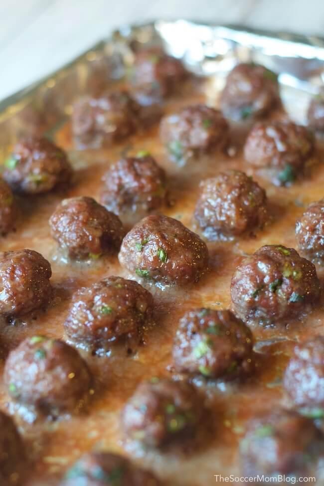 Cooked Korean beef meatballs on baking tray