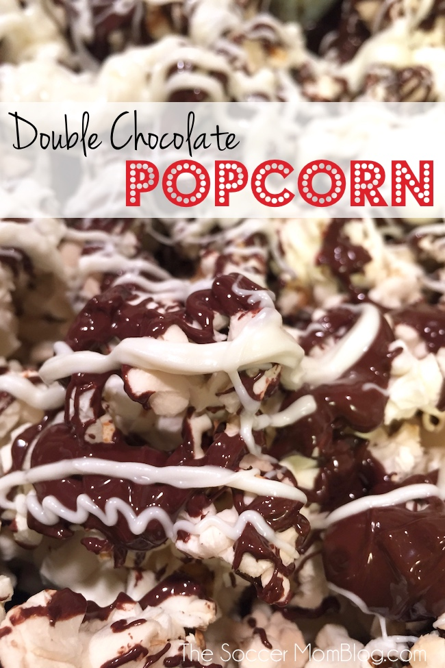 Double Chocolate Popcorn is the PERFECT easy (and delicious) movie night recipe!