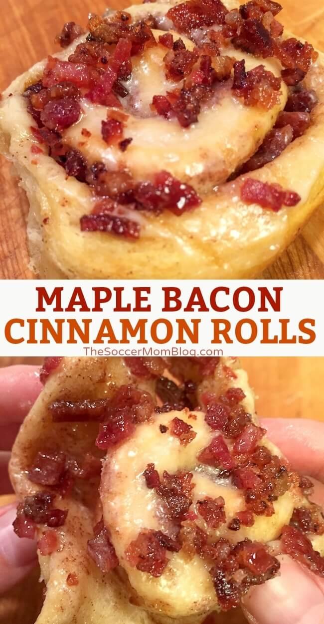 Easy Maple Bacon Cinnamon Rolls - The