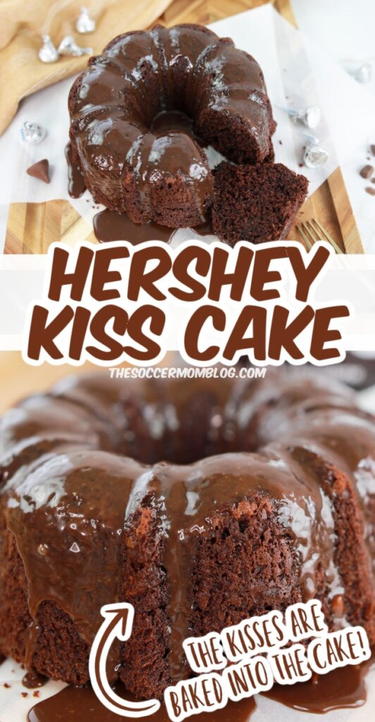chocolate bundt cake made with Hershey's Kisses