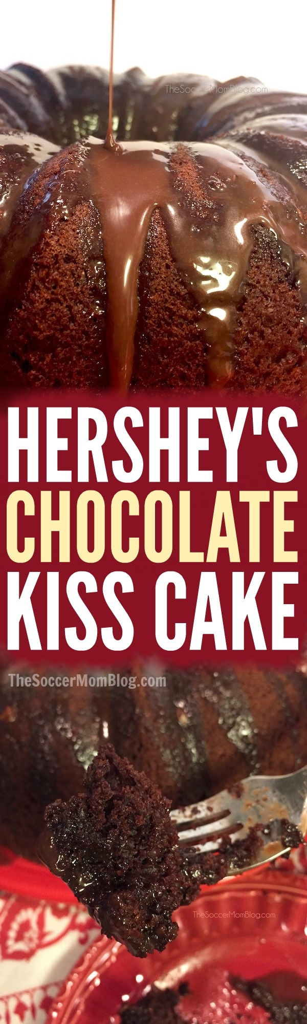 This Double Chocolate Hershey's Kiss Cake is SO rich, SO fudge-y, and SO decadent— even one bite is pure dessert bliss!