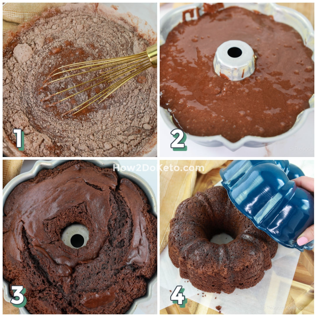 step by step photo collage showing how to make a chocolate bundt cake
