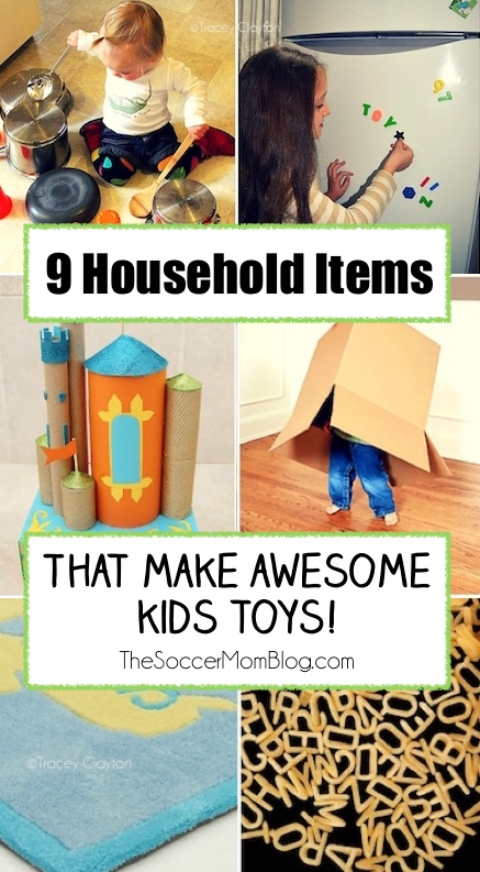 You can entertain your kids for hours, without spending a dime! Using household items as toys can develop creative thinking and gross & fine motor skills!