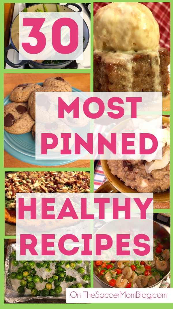 Healthy eating couldn't be easier! A month of healthy meals, so delicious you won't believe they're actually GOOD for you! 30 of the most-shared recipes of 2015 on The Soccer Mom Blog: breakfasts, dinners, desserts, & more!