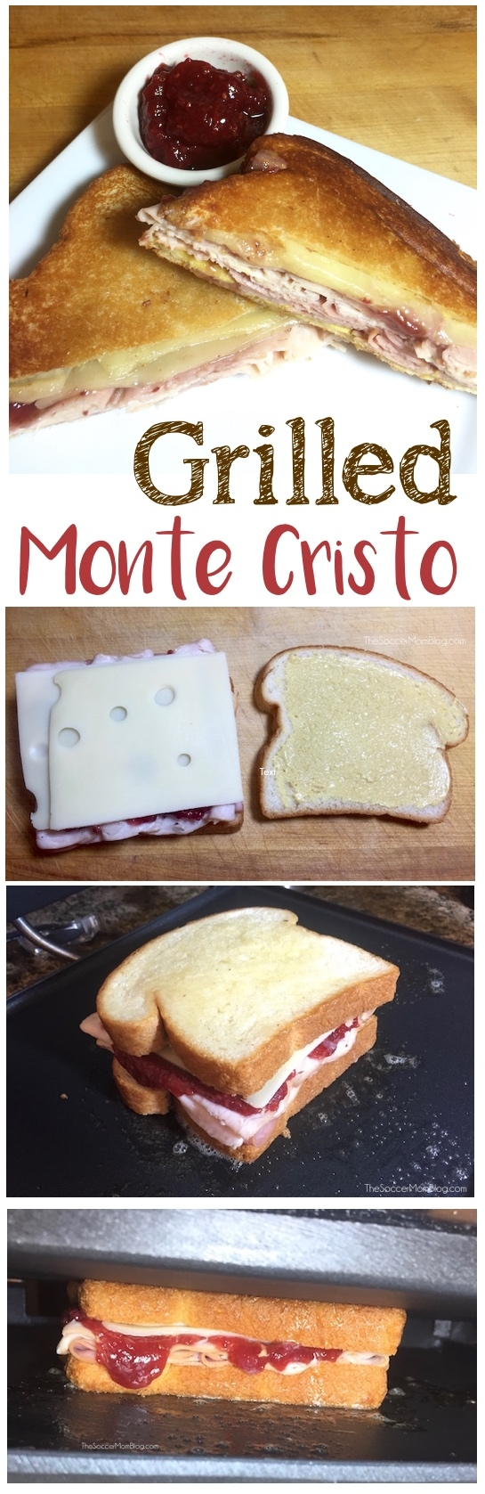"The ""smarter"" Monte Cristo Sandwich (grilled, not fried!) that's so delicious you'll want it this way every time! So easy you can make it at home!"