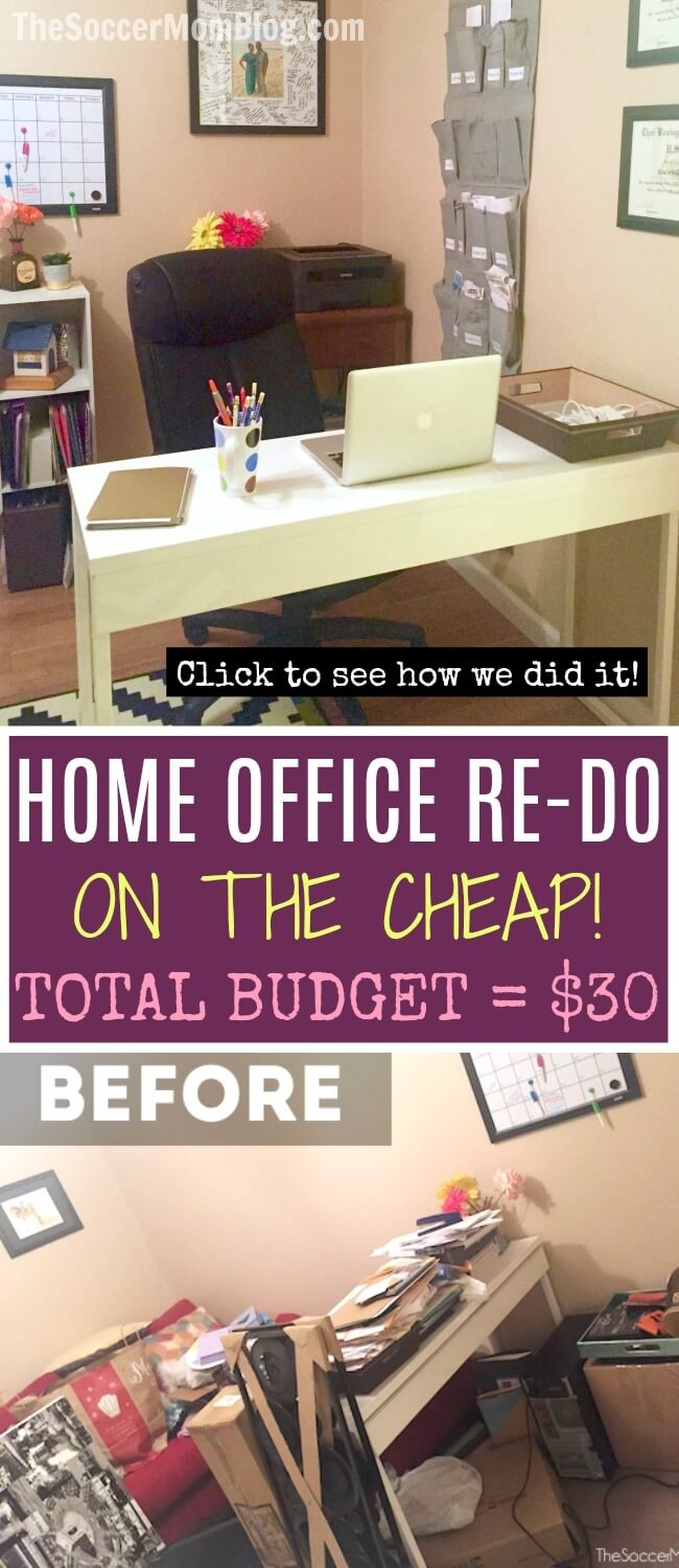Must-see GENIUS home office organization hacks - a total room makeover for under $30! How we tackled the clutter and created a system to stay organized on a shoestring budget (and you can too!)