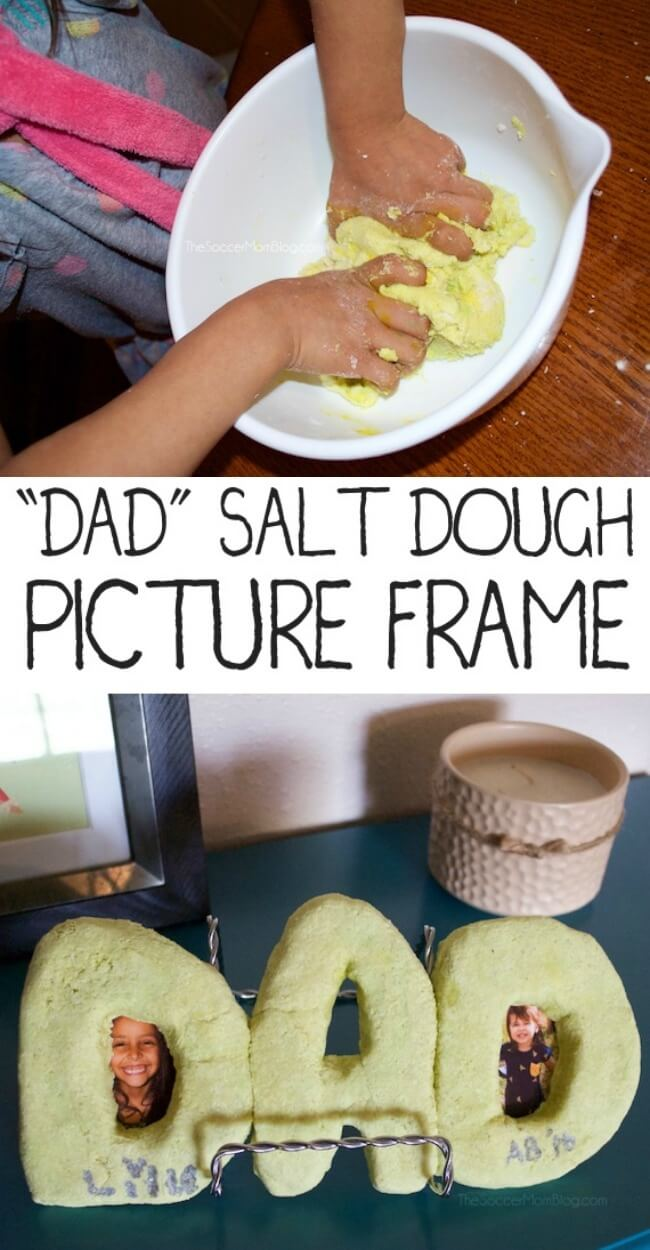 "This ""DAD"" salt dough picture frame is an easy kid-made Father's Day gift that only requires the most basic supplies! It's a keepsake that will last for years!"