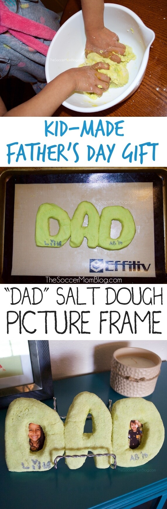 An adorable kid-made gift idea perfect for Father's Day! This handmade salt dough picture frame is an easy craft and lots of fun!