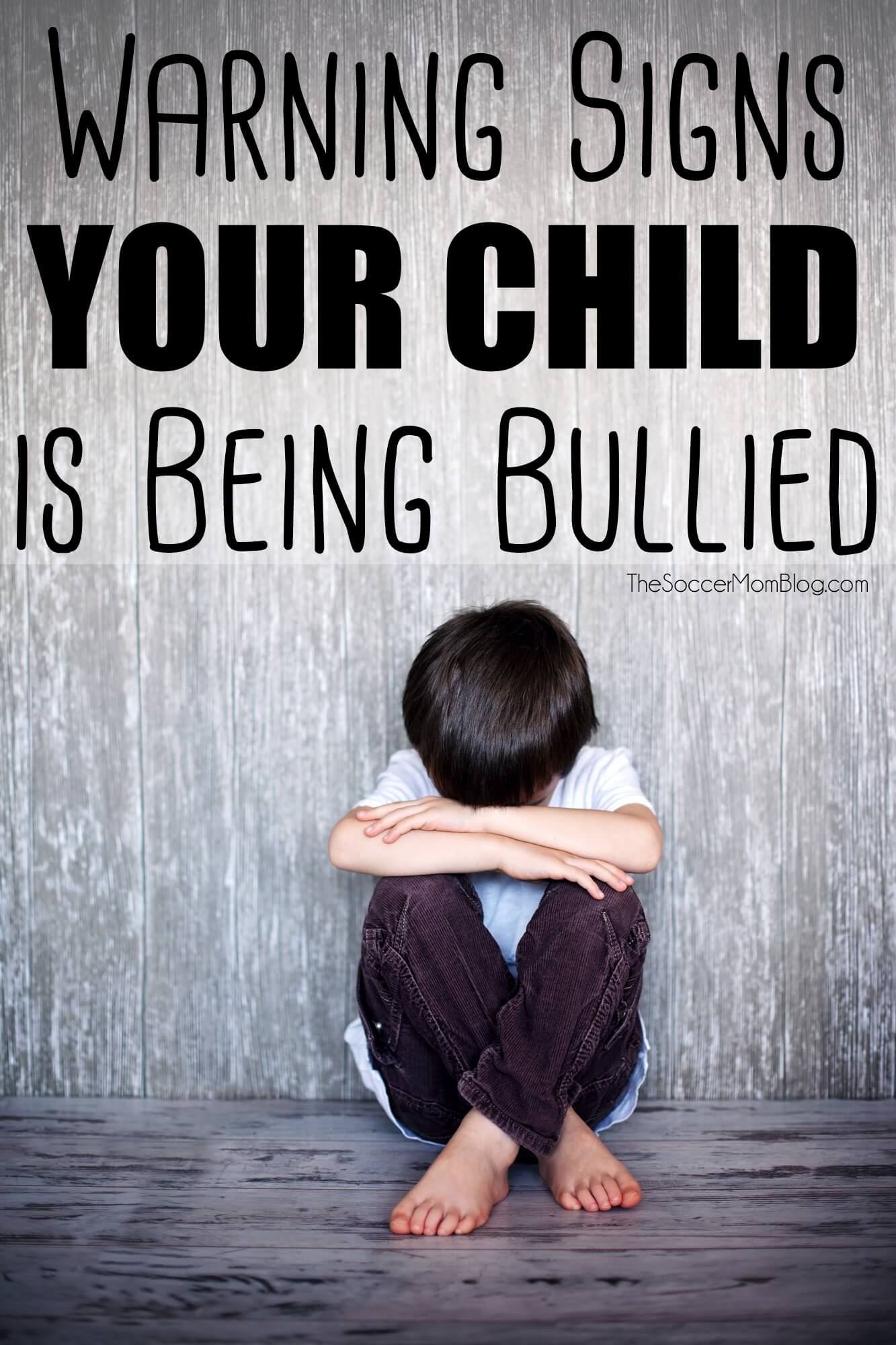 How to recognize signs of bullying in your child. What to do if you think your child is being bullied. A serious, all-too-common issue that CAN'T be ignored. TheSoccerMomBlog.com