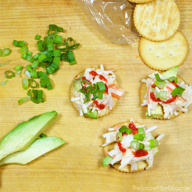 It's not a party without RITZ Crackers! These 3 amazingly easy RITZ Cracker recipes will be the hit of your next event, and they take only minutes to make! Cream Cheese & Mango RITZwiches, Spicy Crab & Avocado RITZwiches, & Quesadilla Fresca RITZwiches