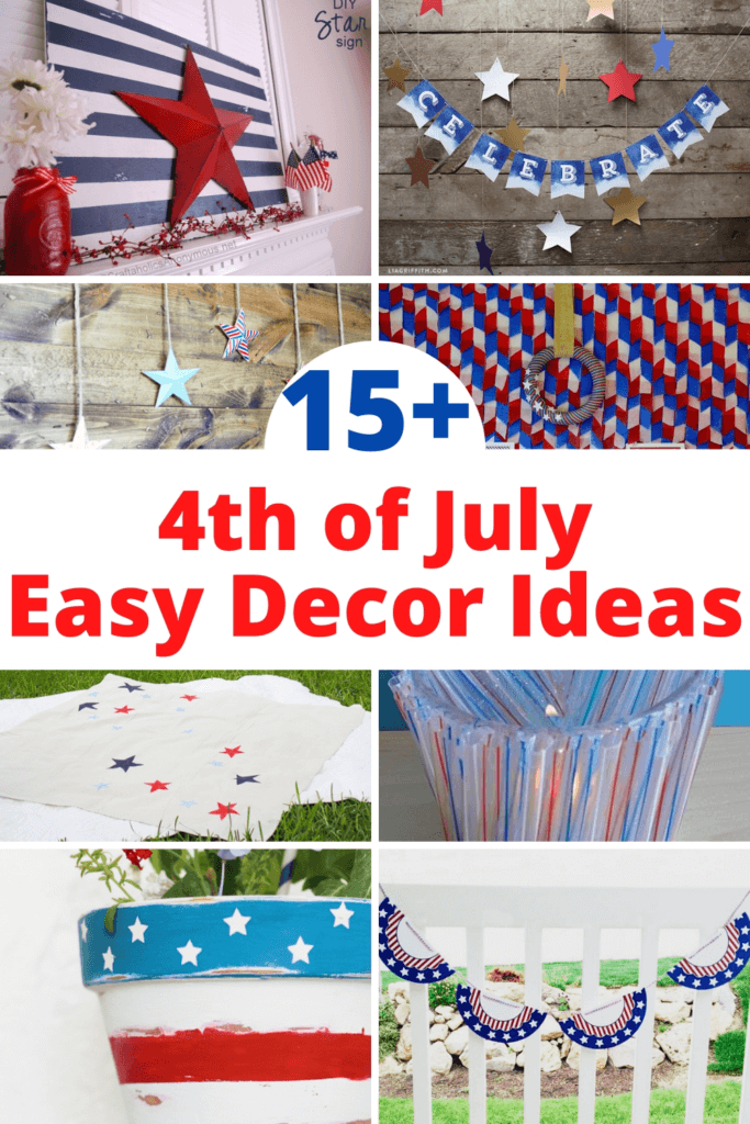 collage of 4th of July party decor ideas