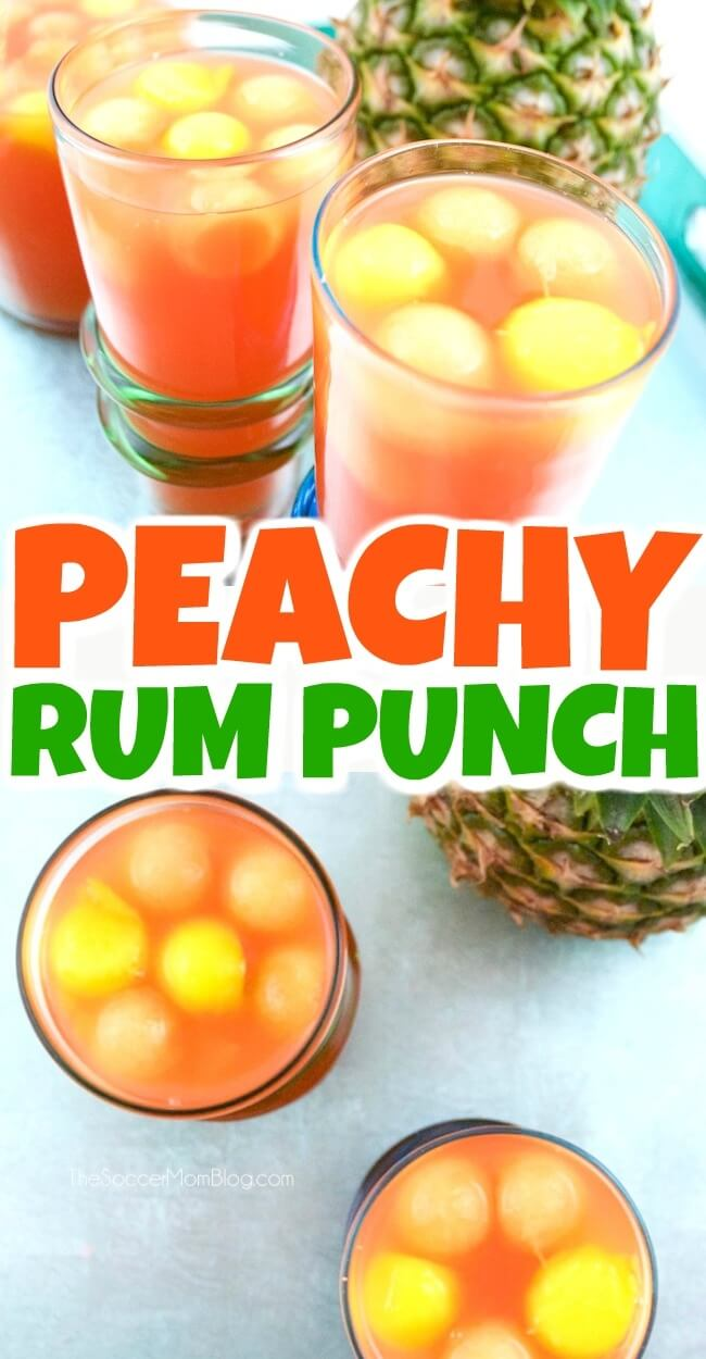 "This easy peach rum punch is the perfect tropical flavored summer party cocktail recipe - and it never gets watered down, thanks to our fruit ""ice!"""