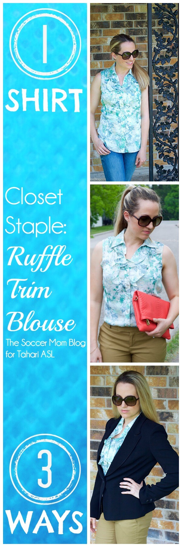 "A ""closet staple"" doesn't have to be simple! LOVE the details on this ruffled blouse! How to build multiple looks around one go-to piece. Fashion, style"