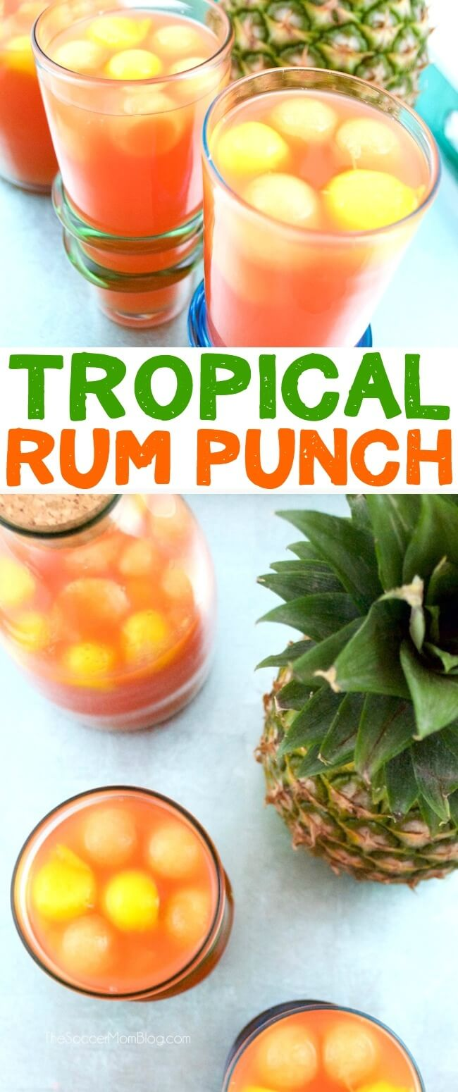 "An easy and fruity Tropical Rum Punch that never gets watered down - thanks to our fresh fruit ""ice."""