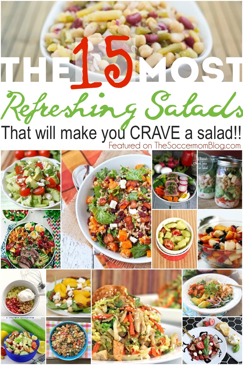 Even if you're not a fan of salads, you will LOVE these!! 15 of the most amazingly delicious and EASY refreshing salad recipes ever!