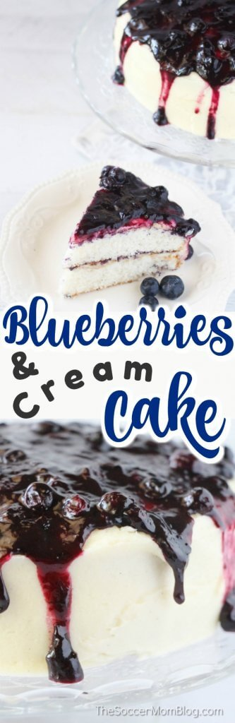 Fresh blueberry pie topping, moist white cake, and vanilla buttercream make the perfect combination in this rich and delicious Blueberries and Cream Cake!