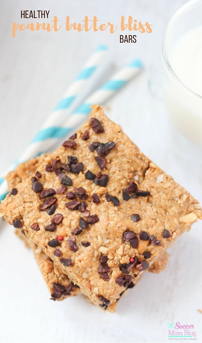 Rich peanut butter, crunchy oats, and a hint of chocolate make these Healthy Peanut Butter Bliss Bars the perfect guilt-free indulgence! A simple, wholesome dessert or snack recipe.