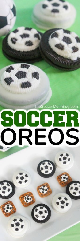 These Chocolate-Covered Soccer Oreos are the cutest!! They are the perfect treat for after practice, a soccer birthday party, or in a Soccer-themed lunch box.