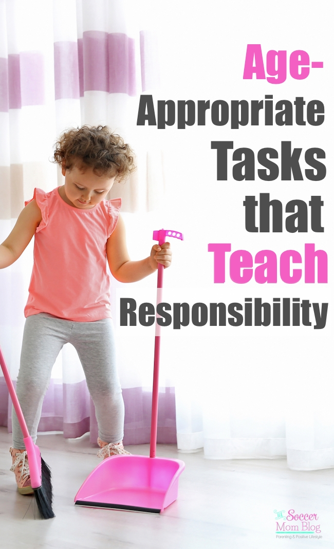 Age appropriate chores teach children responsibility, strong work ethic, and helps them feel like a part of the family. A list of tasks kids can do by age.