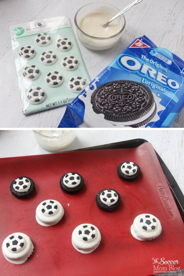making chocolate covered soccer Oreos with white chocolate